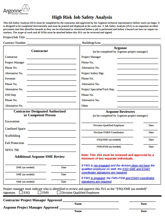 construction job safety analysis form