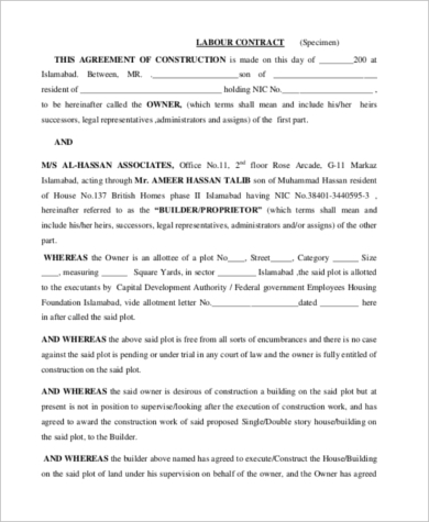 Contract Form Sample   Free Documents In Word Pdf