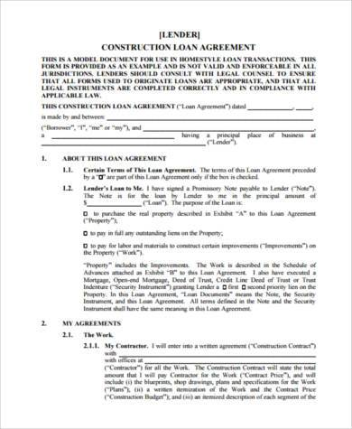 construction loan agreement form