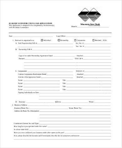 construction loan application form