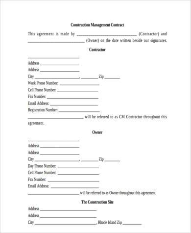 construction management form example