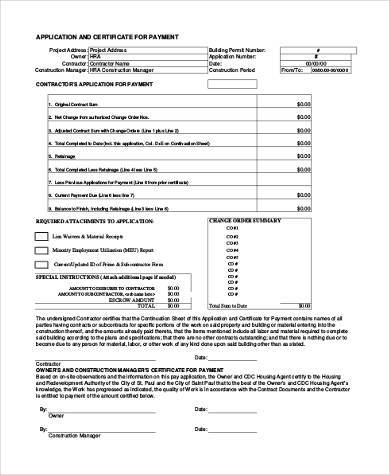 construction pay application form