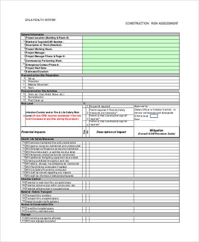 construction risk assessment form