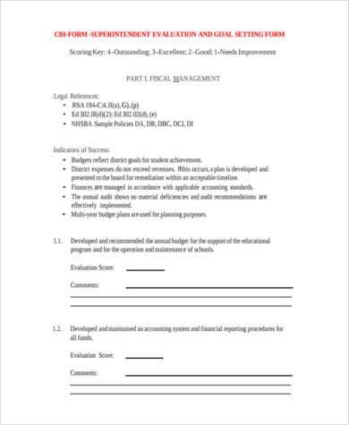 construction superintendent evaluation form