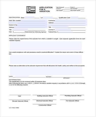 construction variation application form