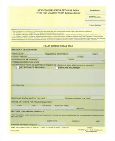 construction work order request form