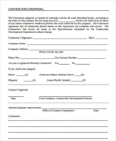 construction work proposal form