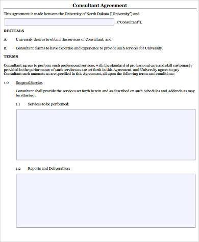 Consulting Sample Agreement Forms  Free Sample Example Format