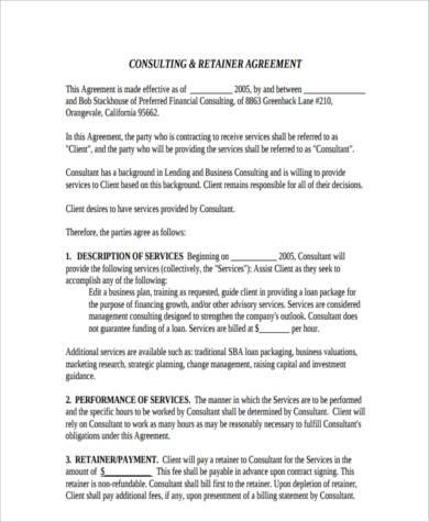 retainer agreement template uk - consulting agreement form samples 8 free documents in