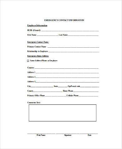 contact form sample in word format