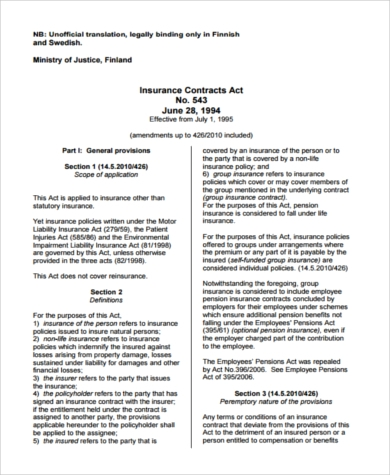 insurance contracts templates  Sample Binding Contract Form - 7  Free Documents in PDF