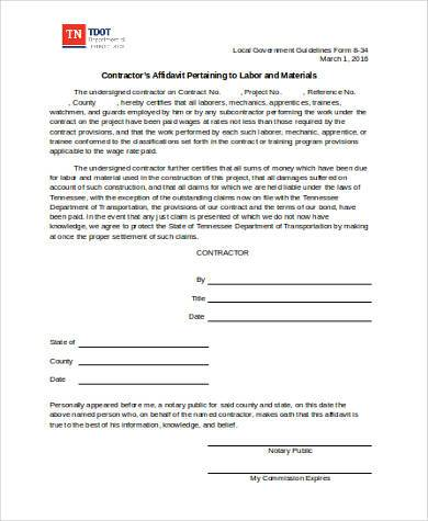 contractor affidavit form in word format