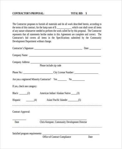 contractor bid proposal form