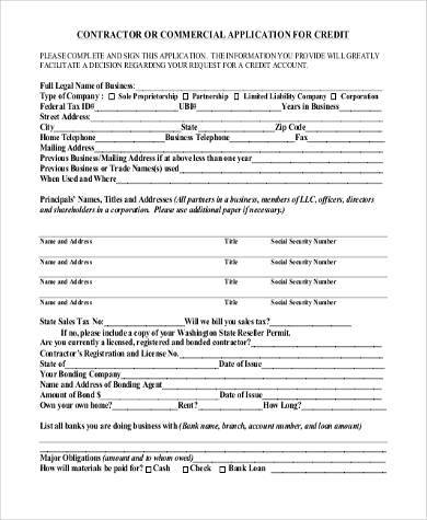 contractor credit application form