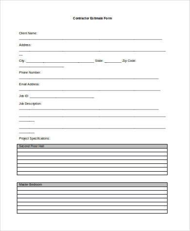 contractor estimate form in word format