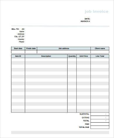 contractor job invoice form1