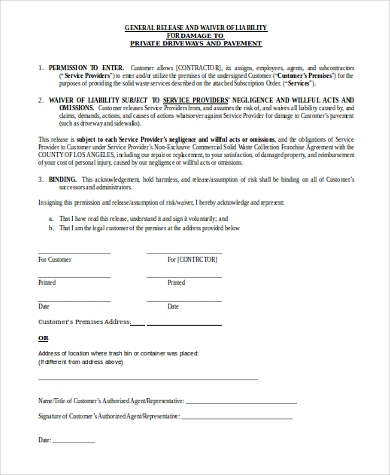 Sample Liability Waiver Form   Free Documents In Word Pdf