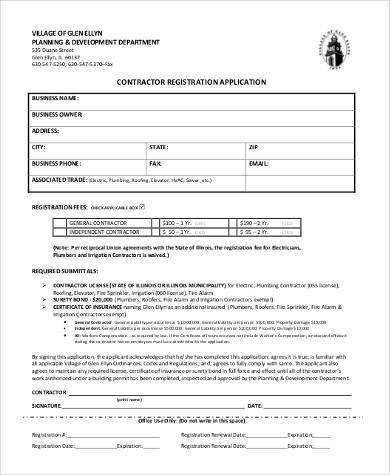 contractor registration application form