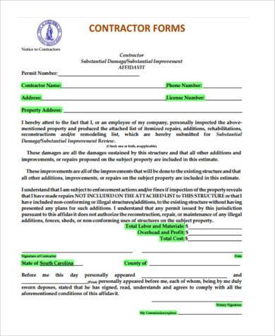 Contractor Estimate Form Samples   Free Documents In Word Pdf