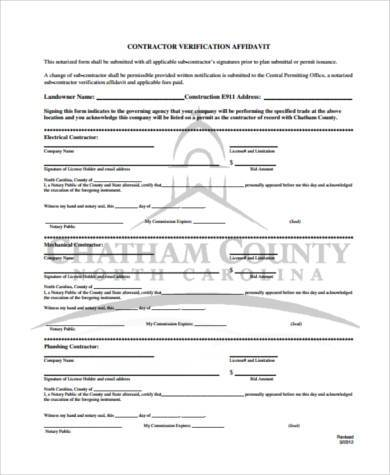 contractor verification affidavit form