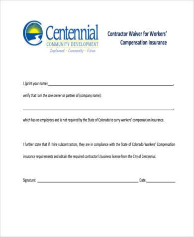 contractor waiver compensation insurance form
