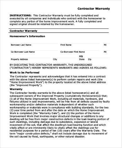 Warranty form template five unexpected ways warranty form for Workmanship guarantee template