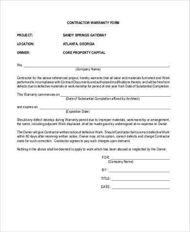 Sample Contractor Warranty Forms 7 Free Documents In