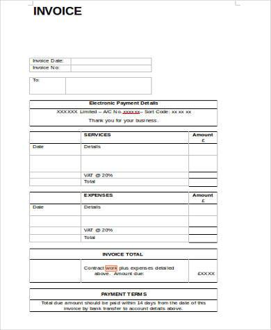 contractor work invoice form1