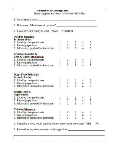 Free 8 Sample Class Evaluation Forms In Pdf Word