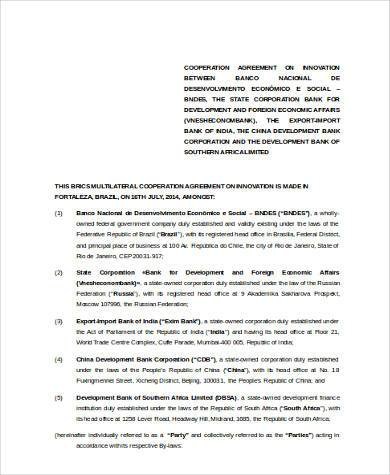 cooperation agreement form in word format