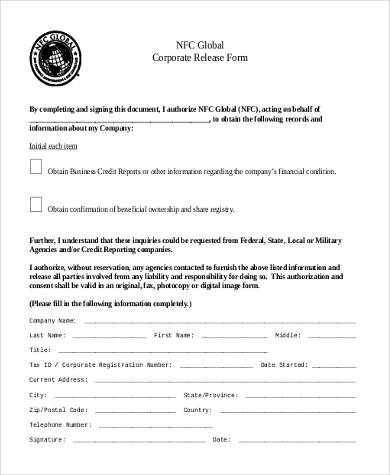 corporate general release form