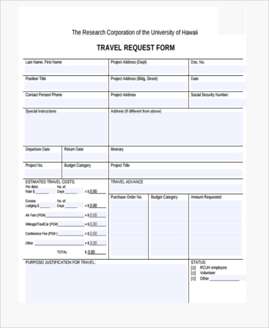 Sample Travel Request Forms   Free Documents In Pdf