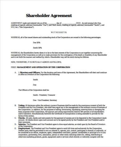 Sample Shareholder Agreement Forms 8 Free Documents In Word Pdf