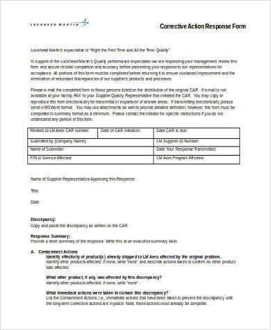corrective action response form