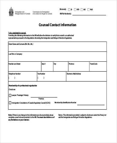 counsel contact information form