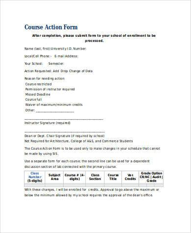 course action form in word format1