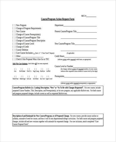 course action request form
