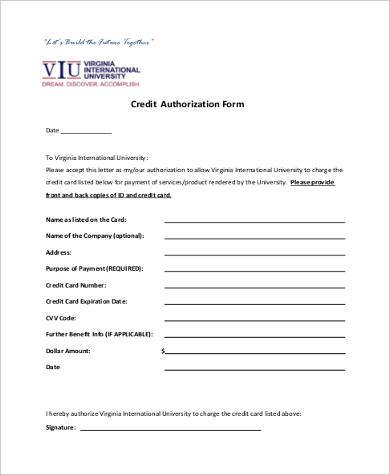 credit authorization form in pdf