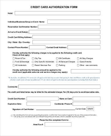 Sample Credit Authorization Forms   Free Documents In WordPdf