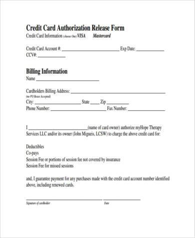 credit card authorization release form