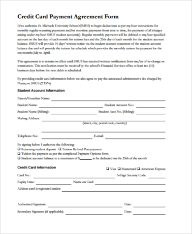 credit card agreement form