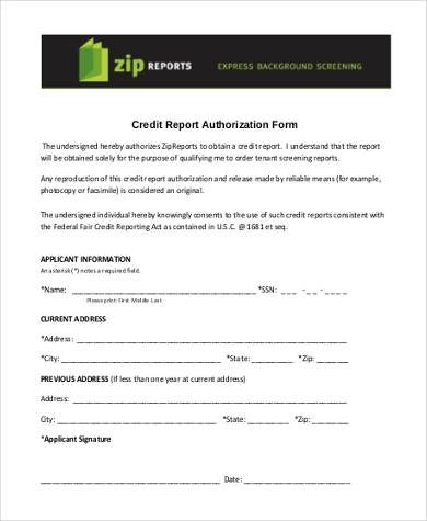 credit report authorization form pdf