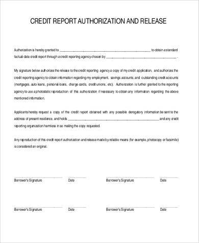credit report authorization form