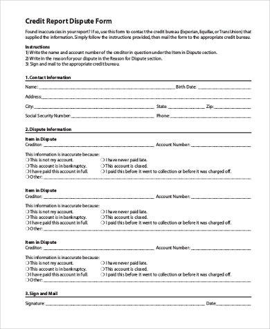 Credit Dispute Form Samples   Free Documents In Word Pdf