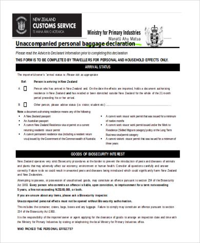 custom baggage declaration form example