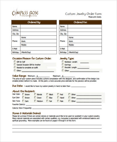 Sample Custom Order Forms 7 Free Documents In Pdf