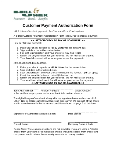 customer payment authorization form