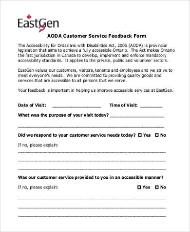 Customer Complaints Comment Card Sample Bus Service Feedback Form