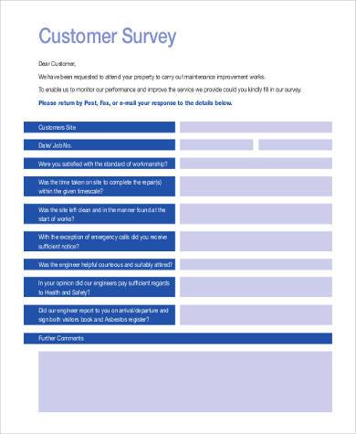customer survey form 1
