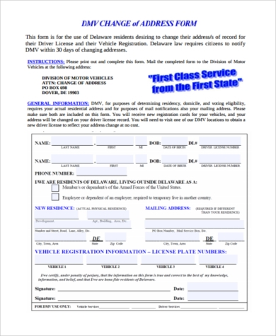 Sample Dmv Address Change Form   Free Documents In Pdf